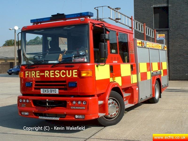 Essex FRS Dennis Sabre XL EK51 BYO on the 7th of August 2004 at Southend Fire Station - Picture courtesy of Kevin Wakefield